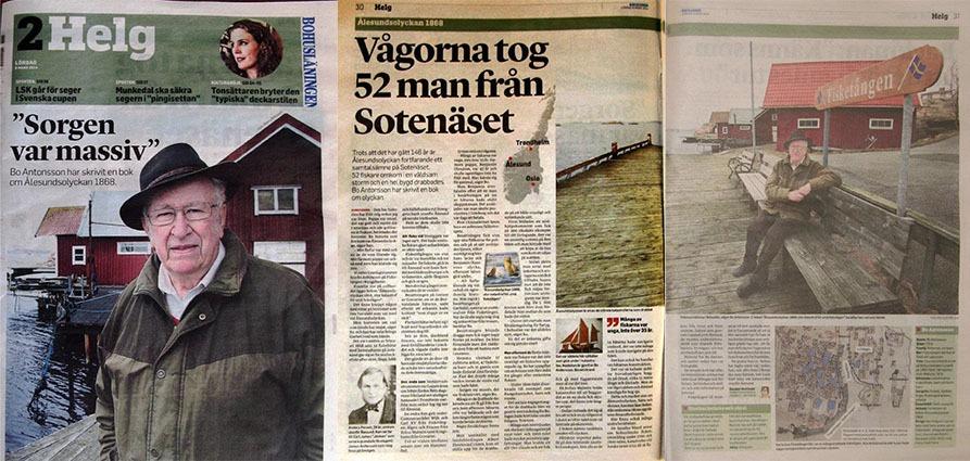 Bohuslänningen skriver om Bo Antonsson och Ålesundsolyckan 1868
