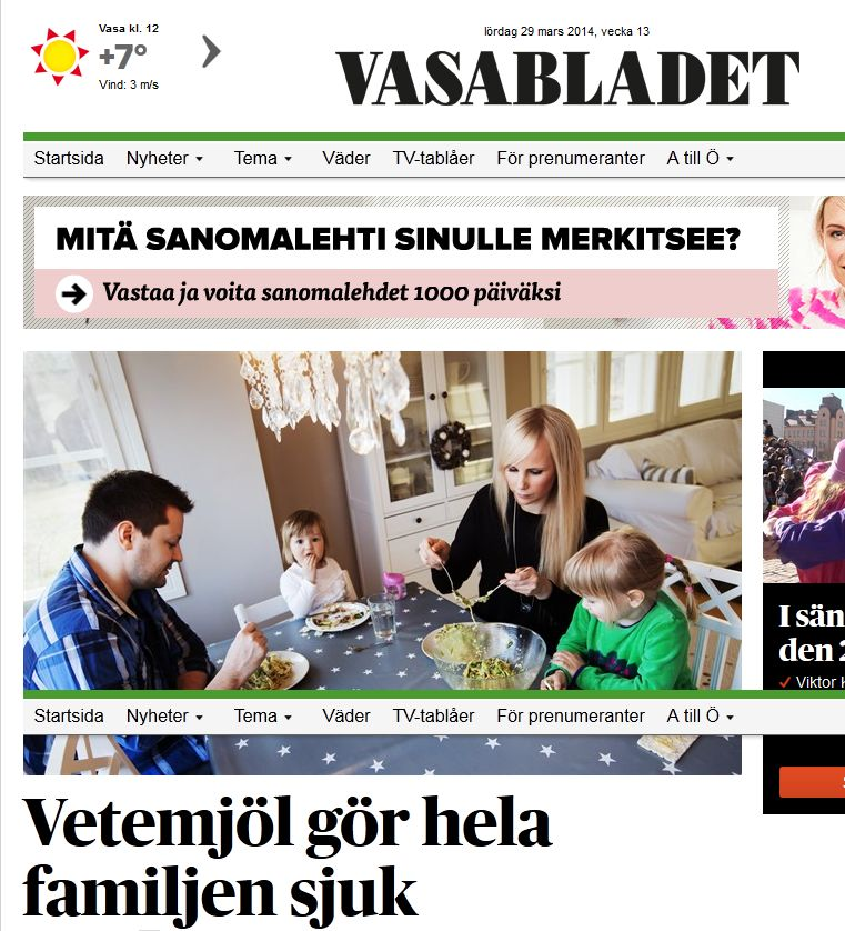Gluten och Mjölk av Michael Håkansson med i radio och Vasabladet
