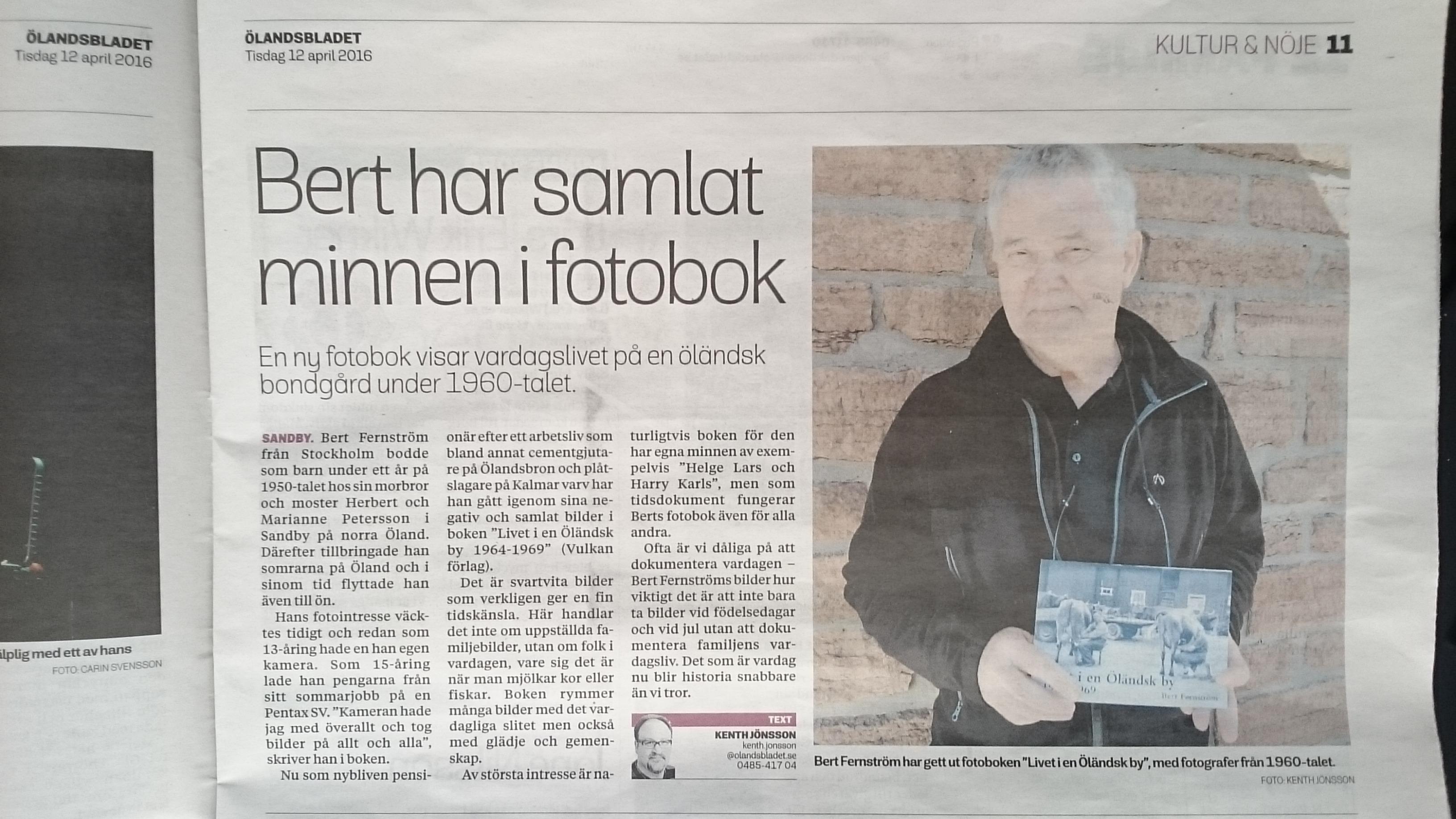 Ölandsbladet skriver om Bert Fernströms fotobok