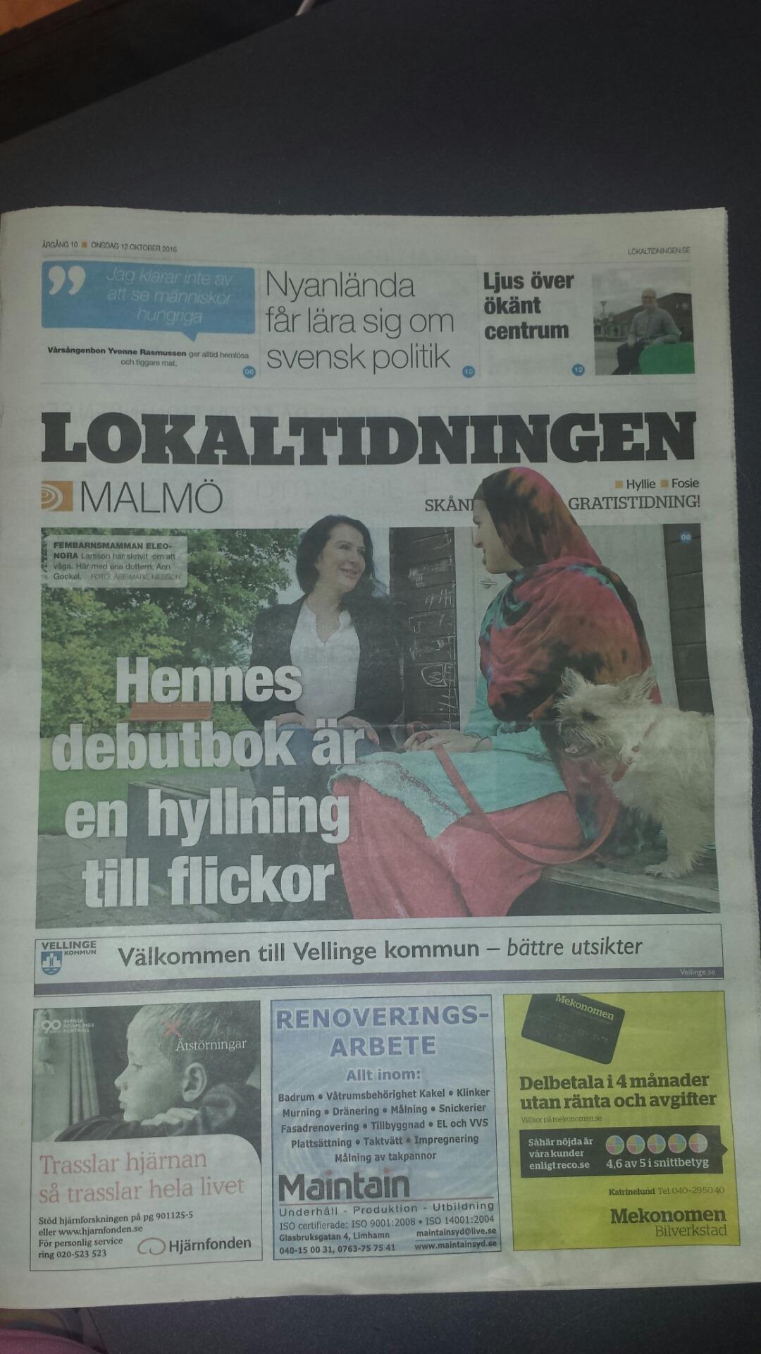 """""""Grodbarn på äventyr"""" på omslaget av Lokaltidningen Malmö"""