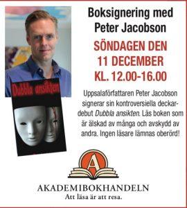 Peter Jacobson signerar böcker i Uppsala
