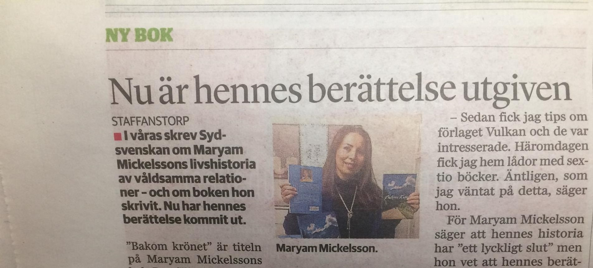 Sydsvenskan skriver om Maryam Mickelsson och Vulkan